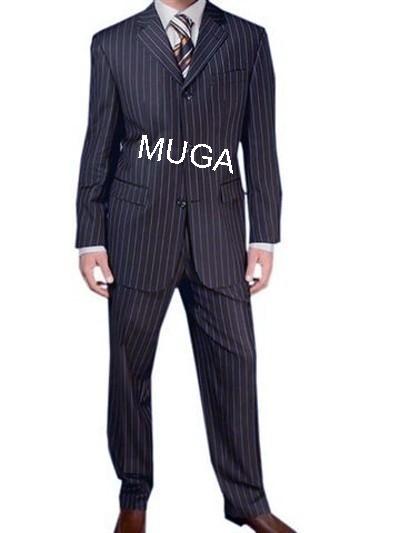 Muga Make Up Guru Africa: Muga Homme Rayé Costume+Gilet Bleu Foncé