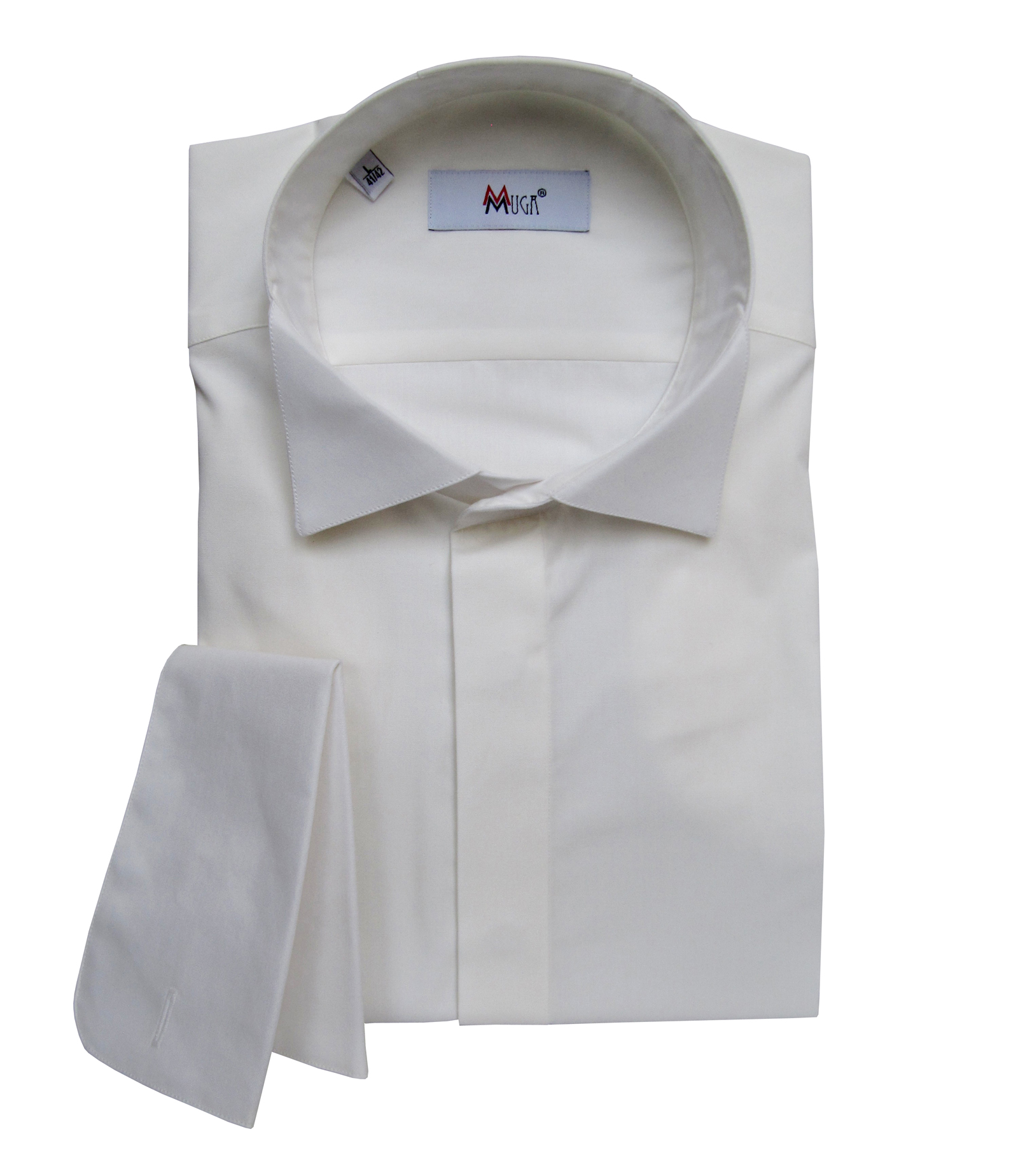 Muga Mens French Cuff Dress Shirt Wedding Clothing