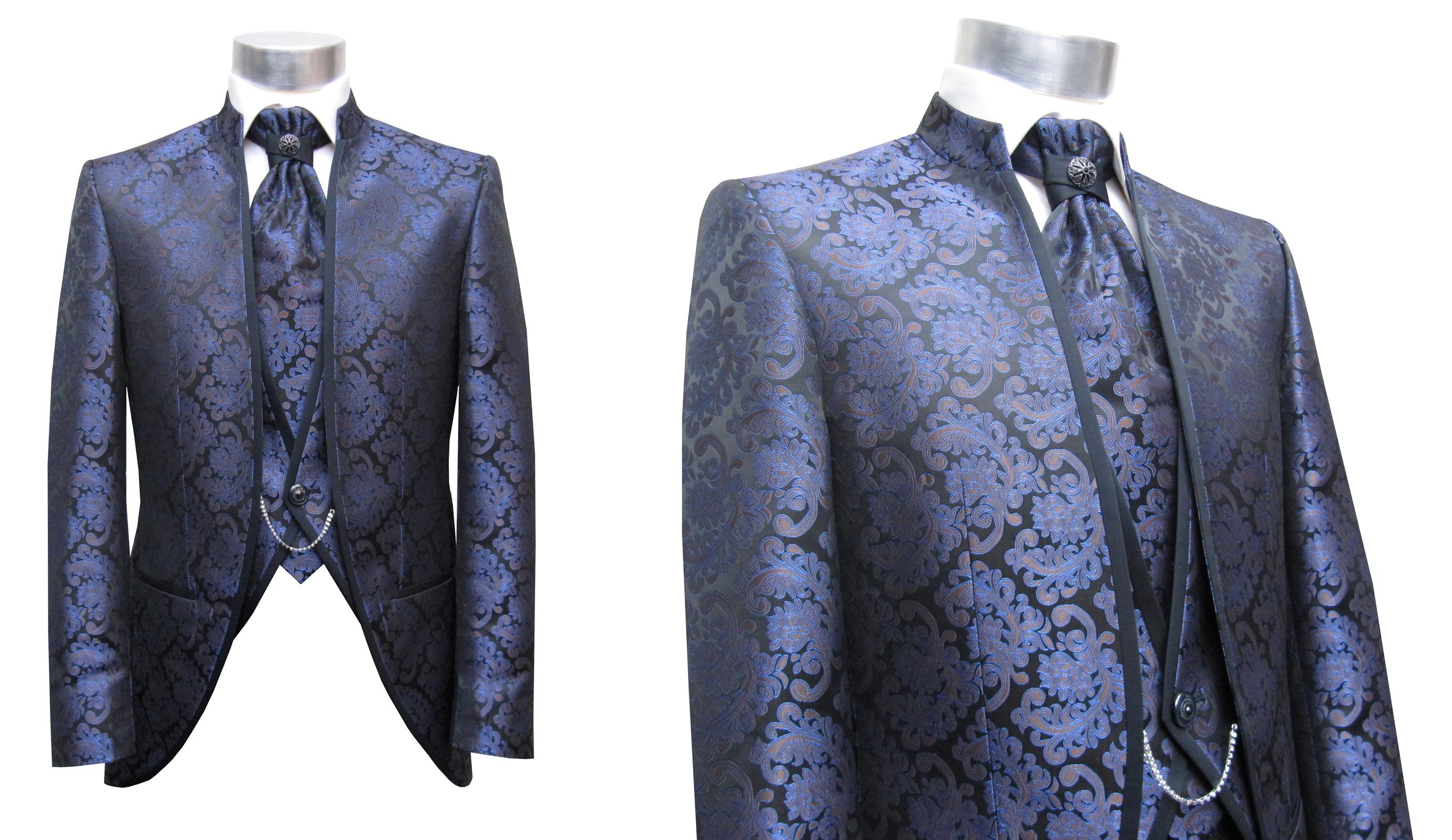 cutaway gehrock herren anzug 3 teilig blau lila ebay. Black Bedroom Furniture Sets. Home Design Ideas