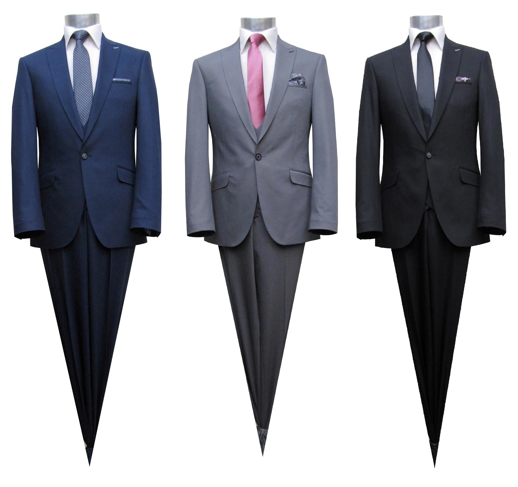 f5e0334d9c5b17 Slim Fit Herren Anzug 1-Knopf mit Weste Muga 3-Teilig auch für Festliche  Anlässe