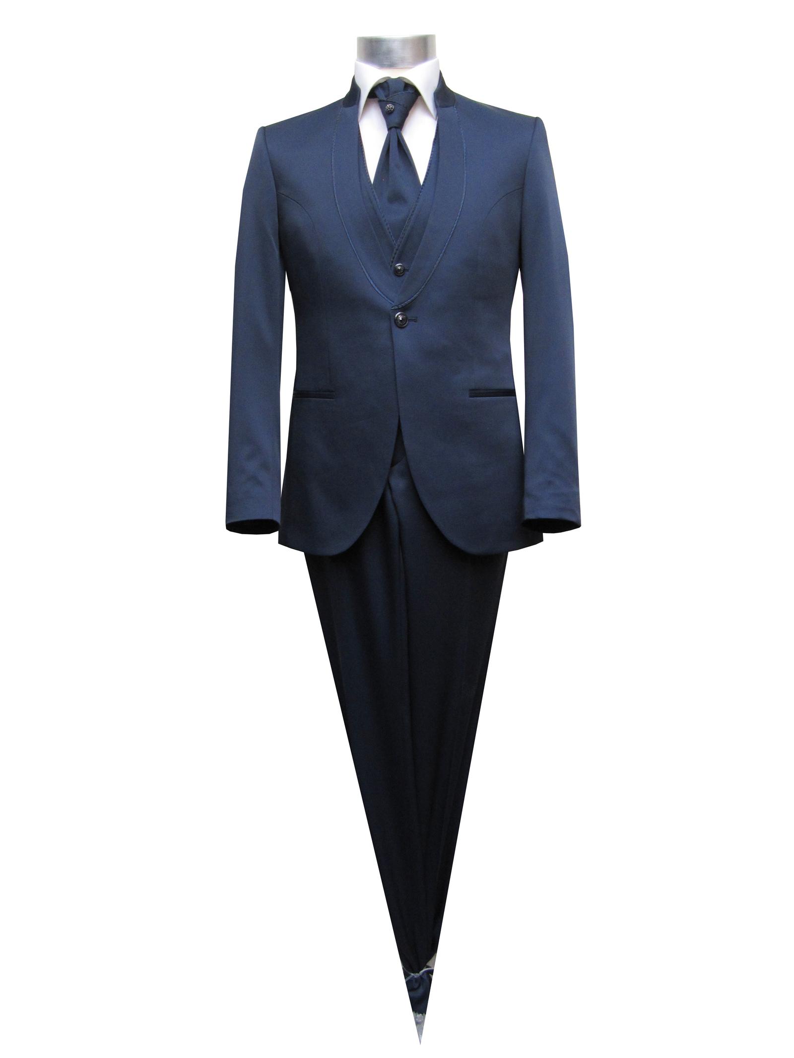 Details zu Stehkragen Herren Anzug 5 teilig Muga Gr.54 Dunkelblau