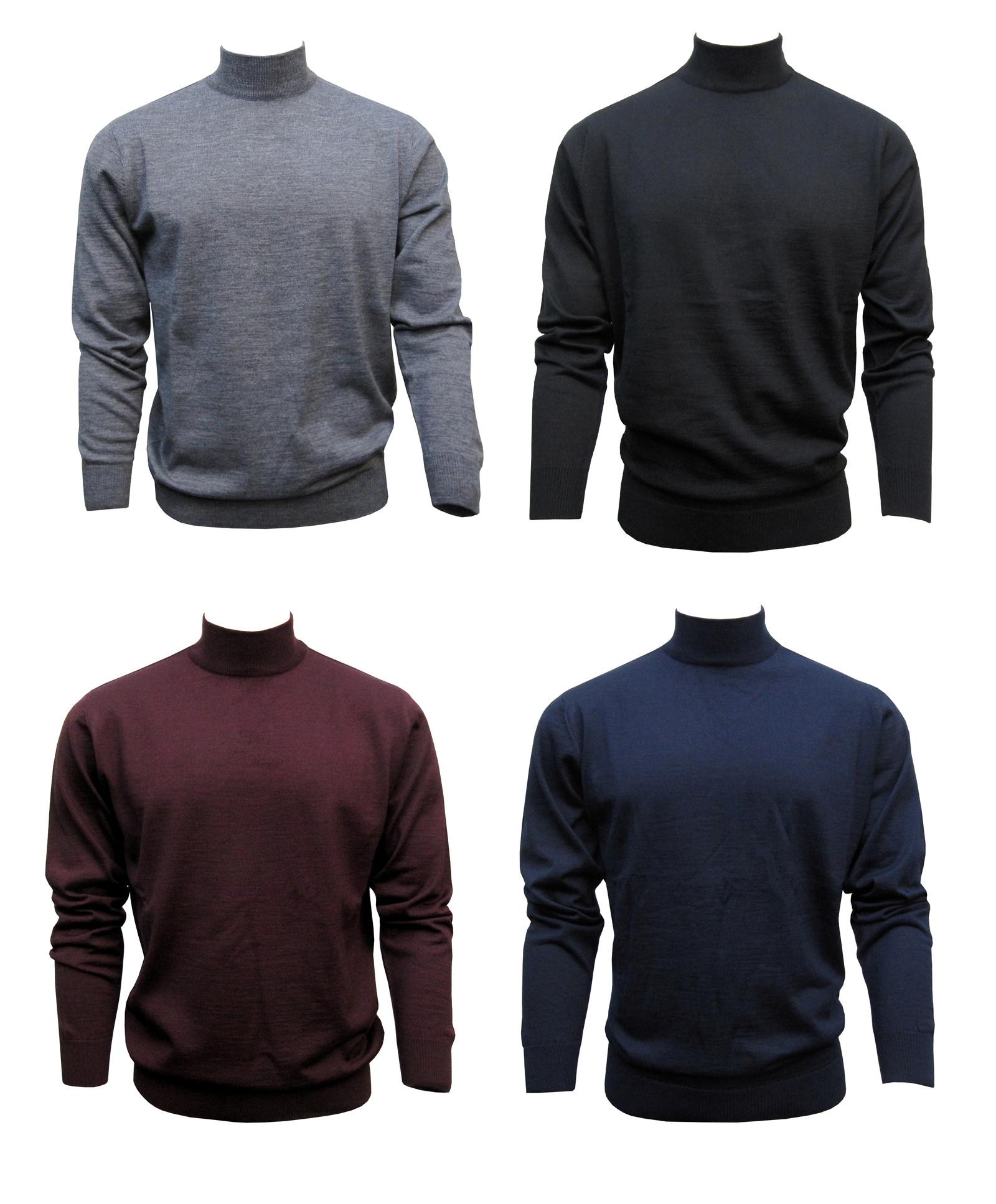 Stehbund Pullover Herren Schwarz, Marine, Dunkelgrau, Bordeaux,