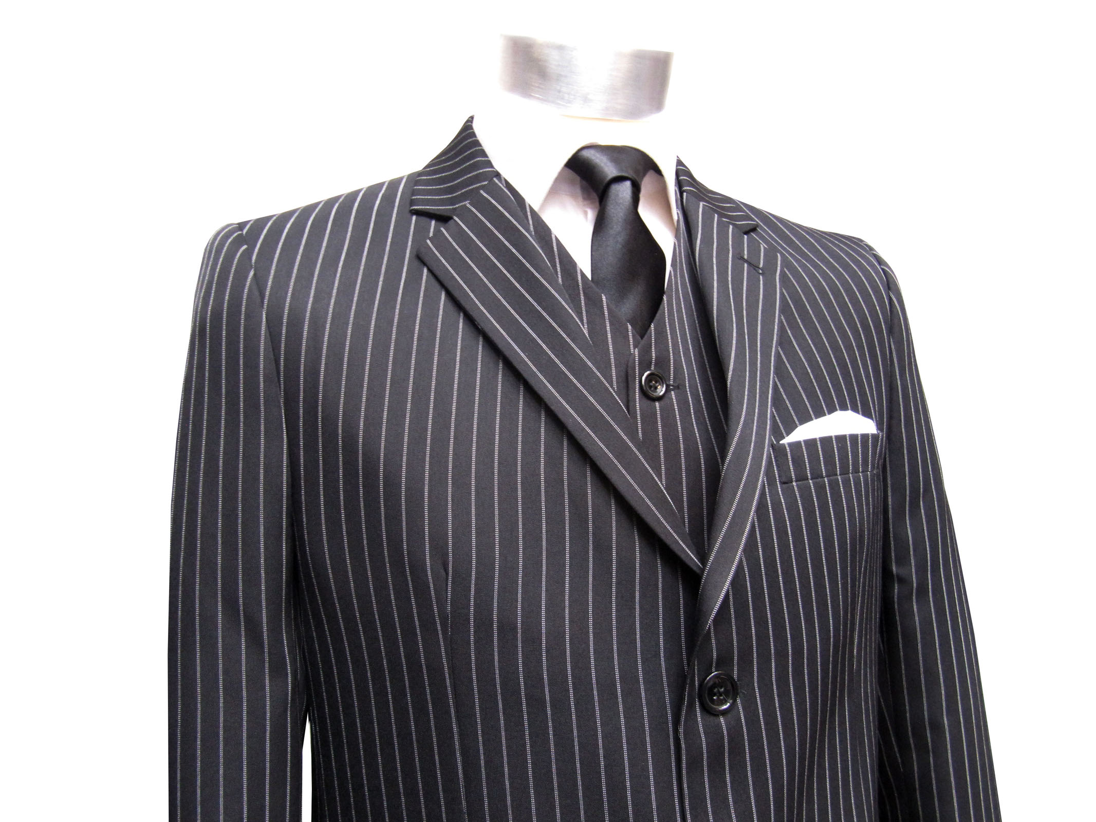 Details zu Herren Anzug gestreift 3 teilig Muga Gr.64 Schwarz