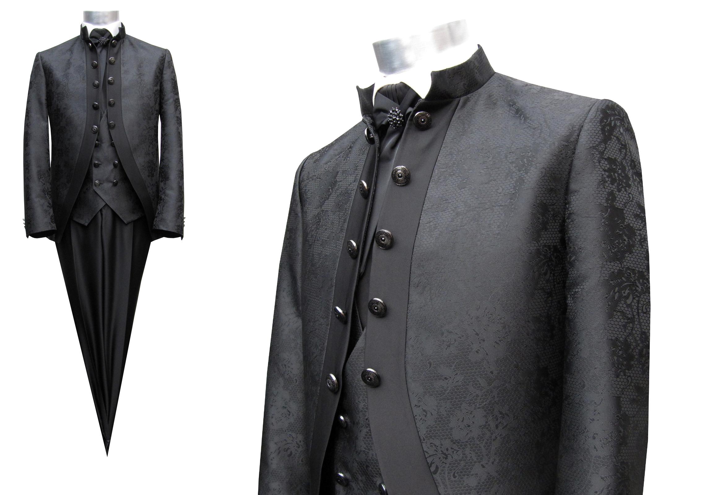 Details zu Hochzeit Herren Cutaway Anzug mit dentelle 4 teilig Gr.68 Schwarz
