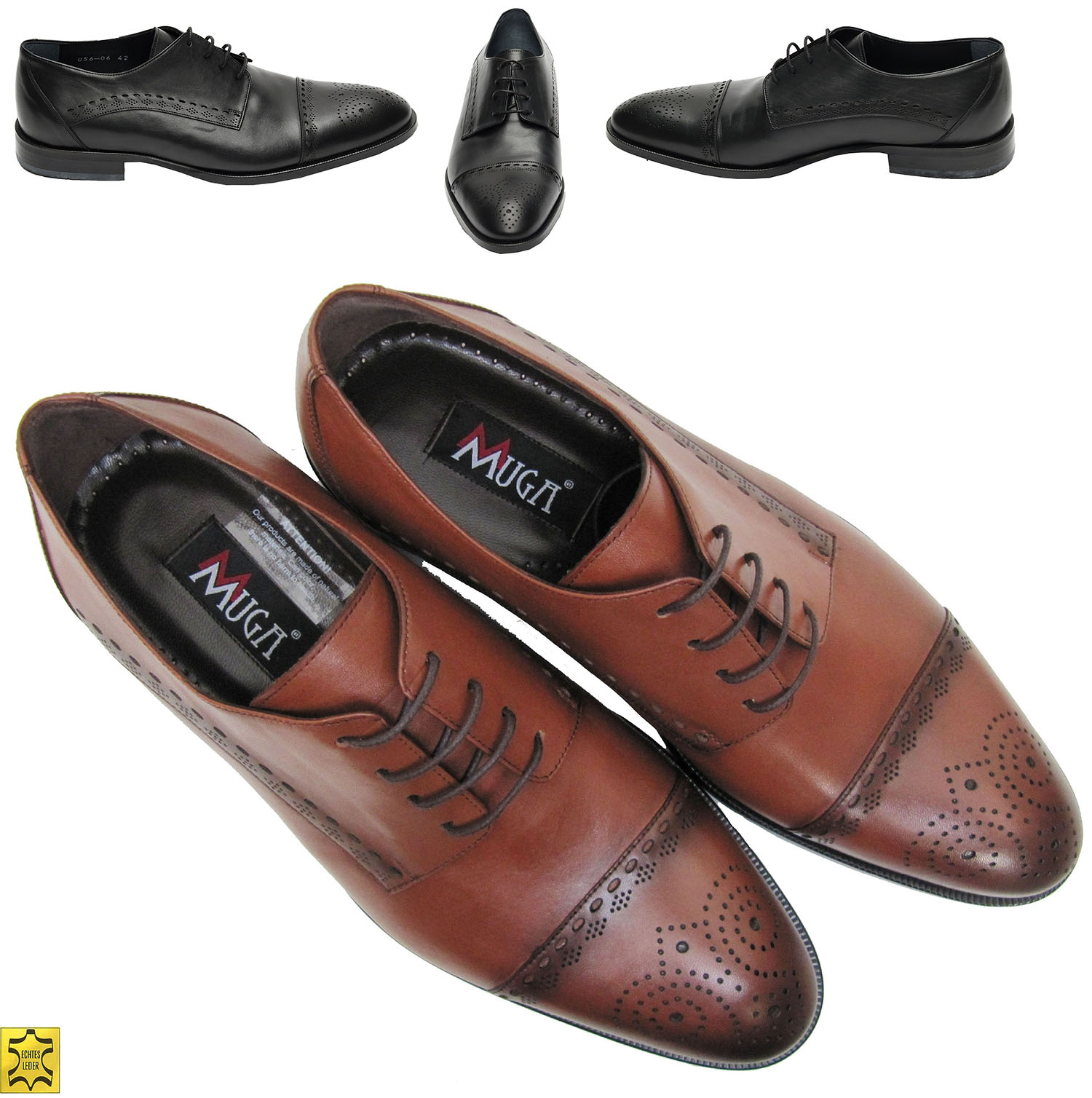 d121da6a489188 Elegante Herren Schuhe für viele Anlässe Schwarz und Tobacco-braun Größen 39 -46. Designed by MUGA ®