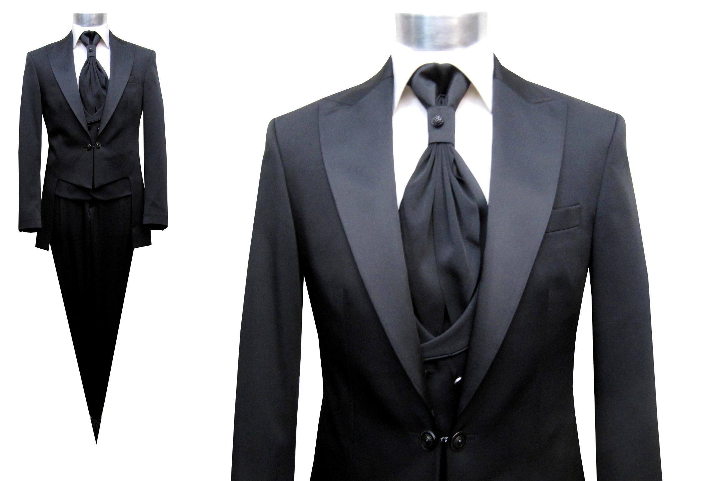 Details zu Hochzeitsanzug Cutaway Anzug 6 teilig Gr.56 Schwarz
