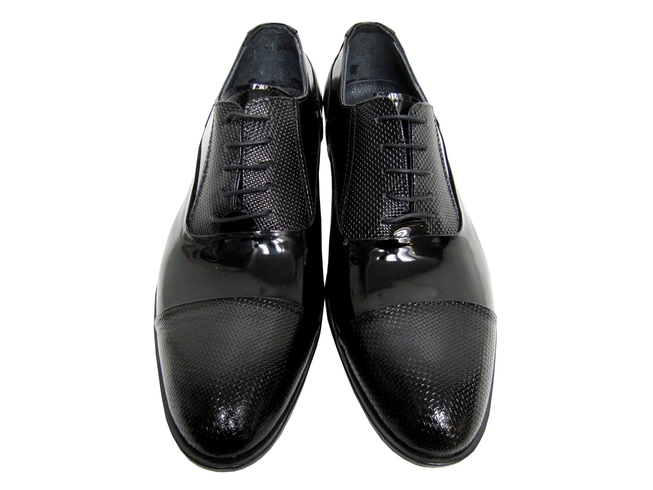 Herren Schuh in Lacklederoptik 245655 in Schwarz 38