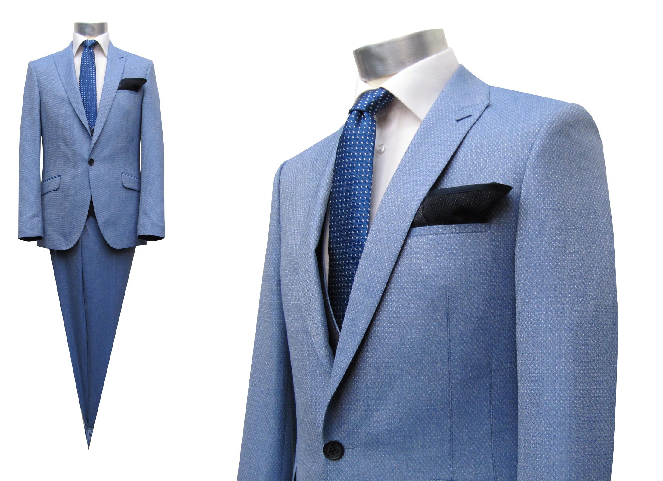 gemusterte Herren Anzug Blau mit Weste und Einstecktuch, 4-teilig, 46-50  verfügbar. Design by MUGA ® 962b83aaec