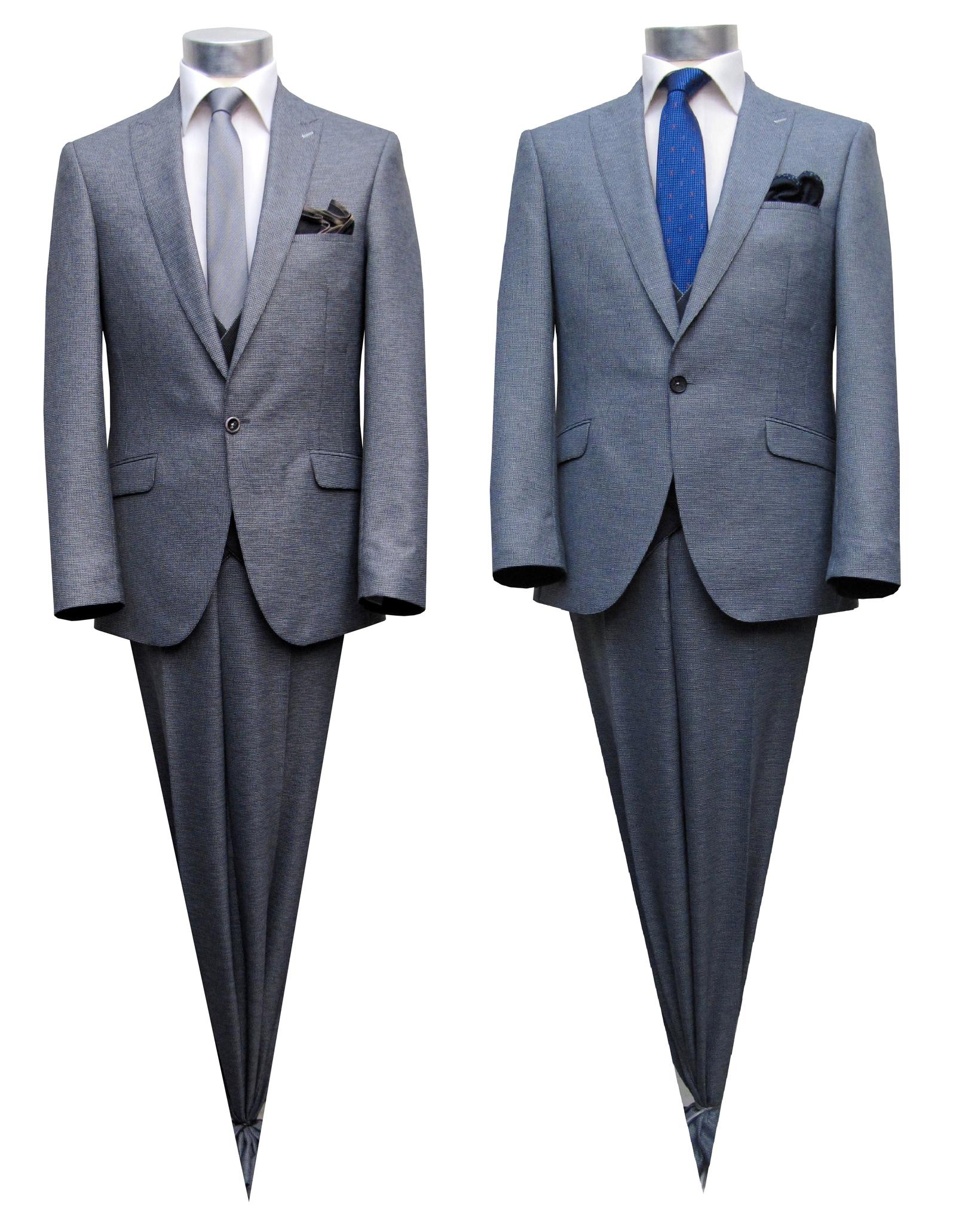 gemusterte Herren Anzug Blau und Schwarz mit Weste und Einstecktuch, 4  teilig, in den Größen 44-58 verfügbar. Design by MUGA ® 81c5127d4f