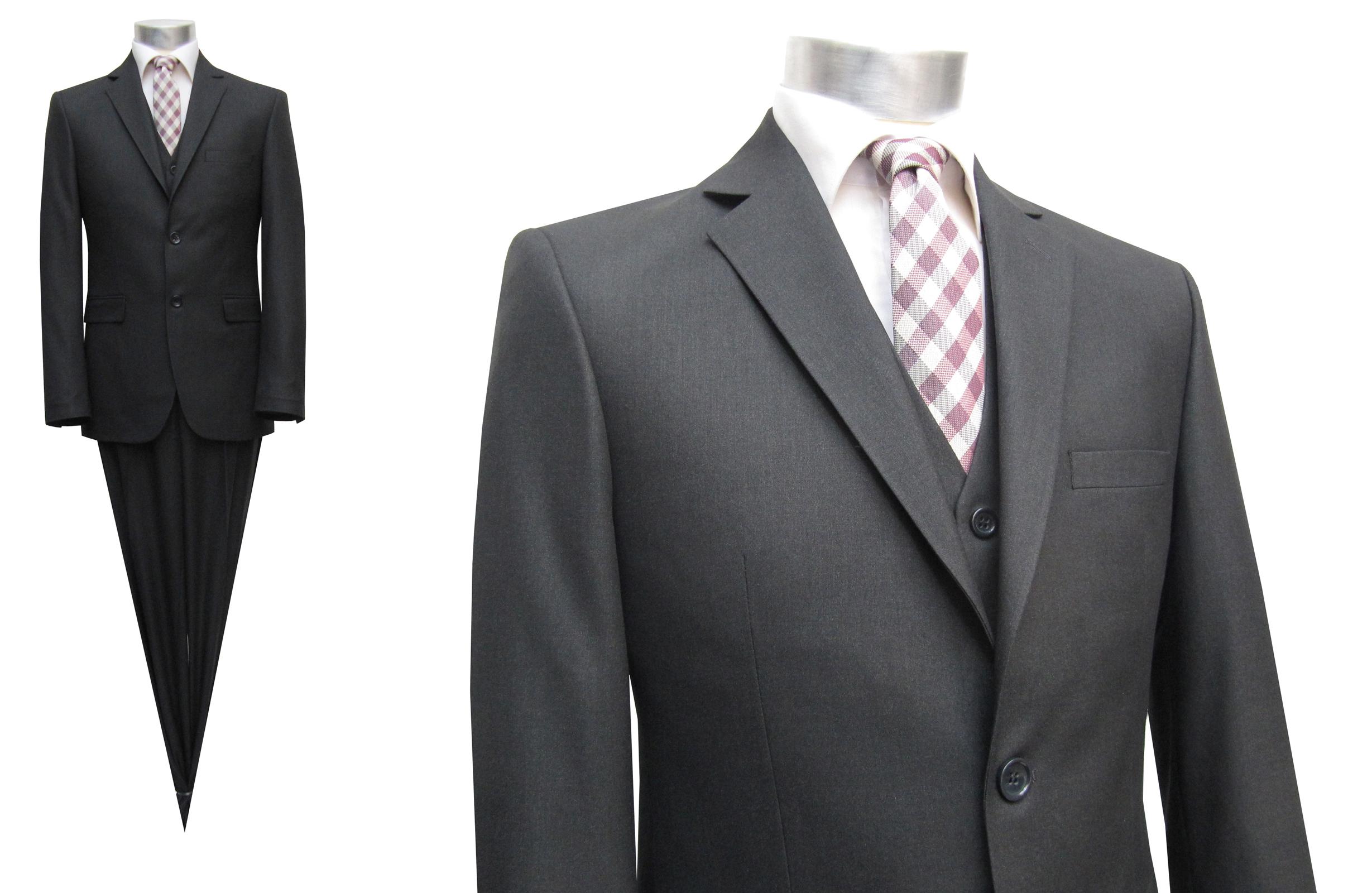Details zu Herren Anzug mit Weste Slim Fit Gr.118 Dunkelgrau