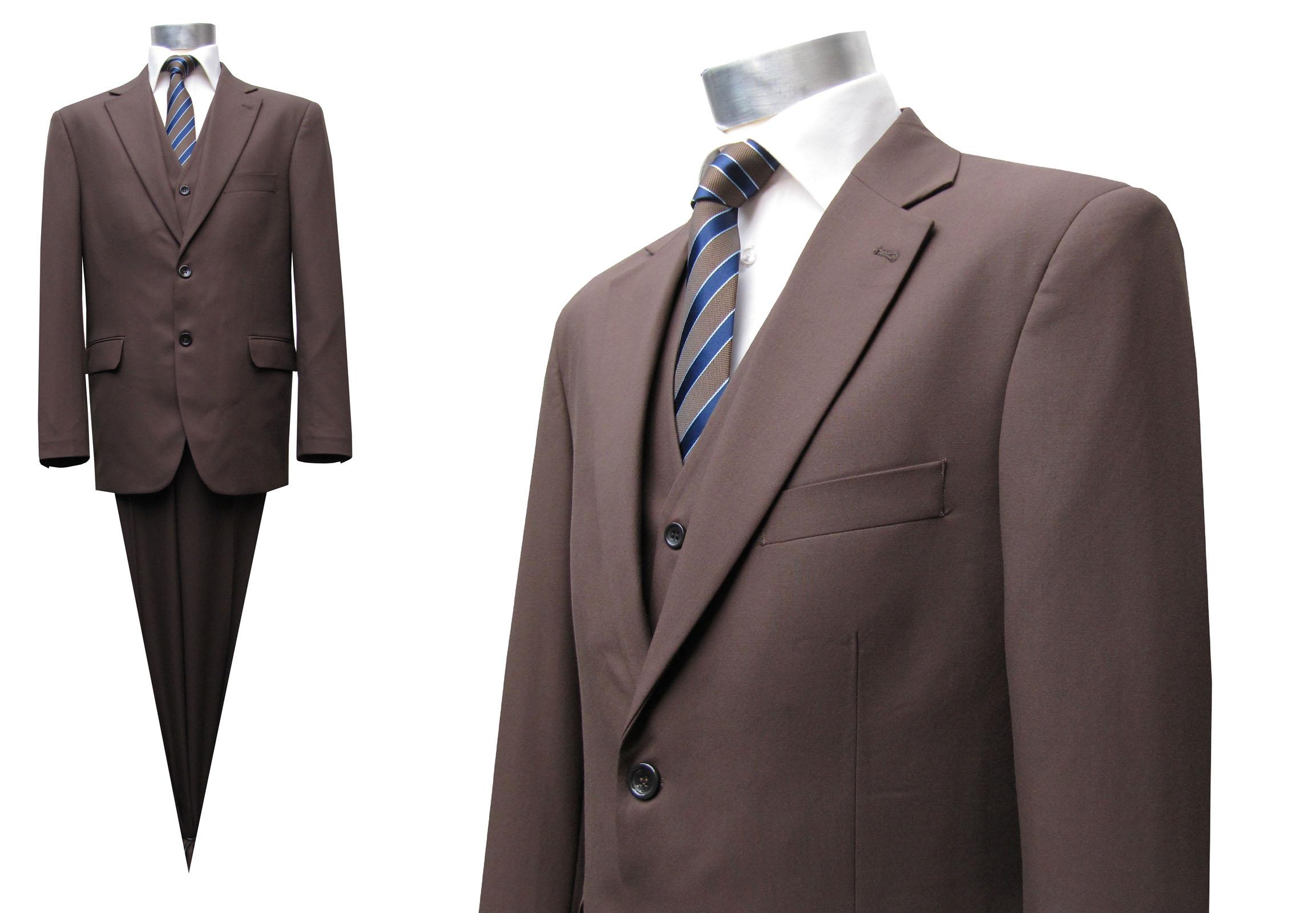 f7288ca1f3cd Muga 120s Herren Anzug Braun 3-teilig. Zeitloser Einreiher mit Weste, für  Business und Freizeit, Verfügbare Größen 25-37. Design by MUGA ®