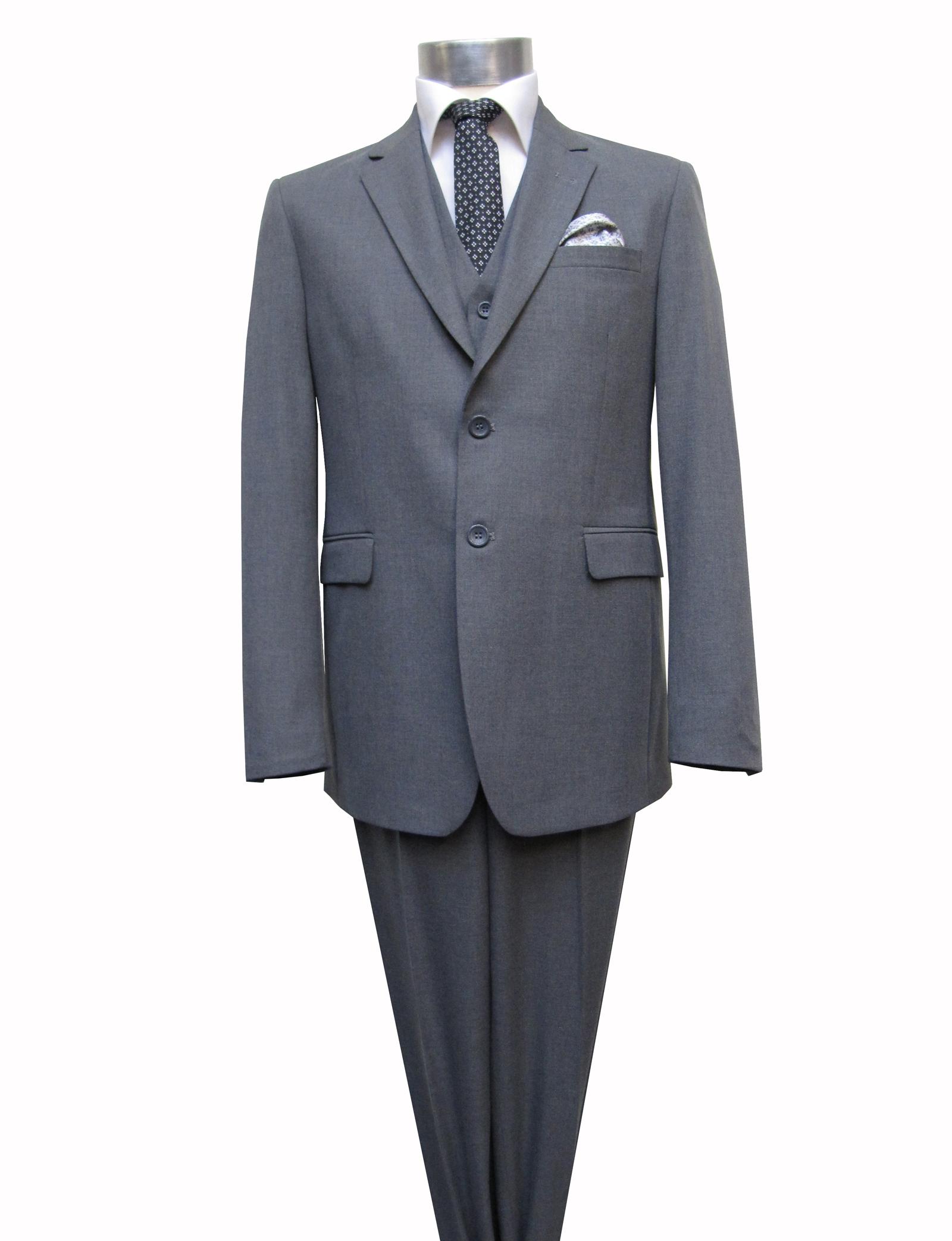 herren anzug mit weste elegant grau ebay. Black Bedroom Furniture Sets. Home Design Ideas