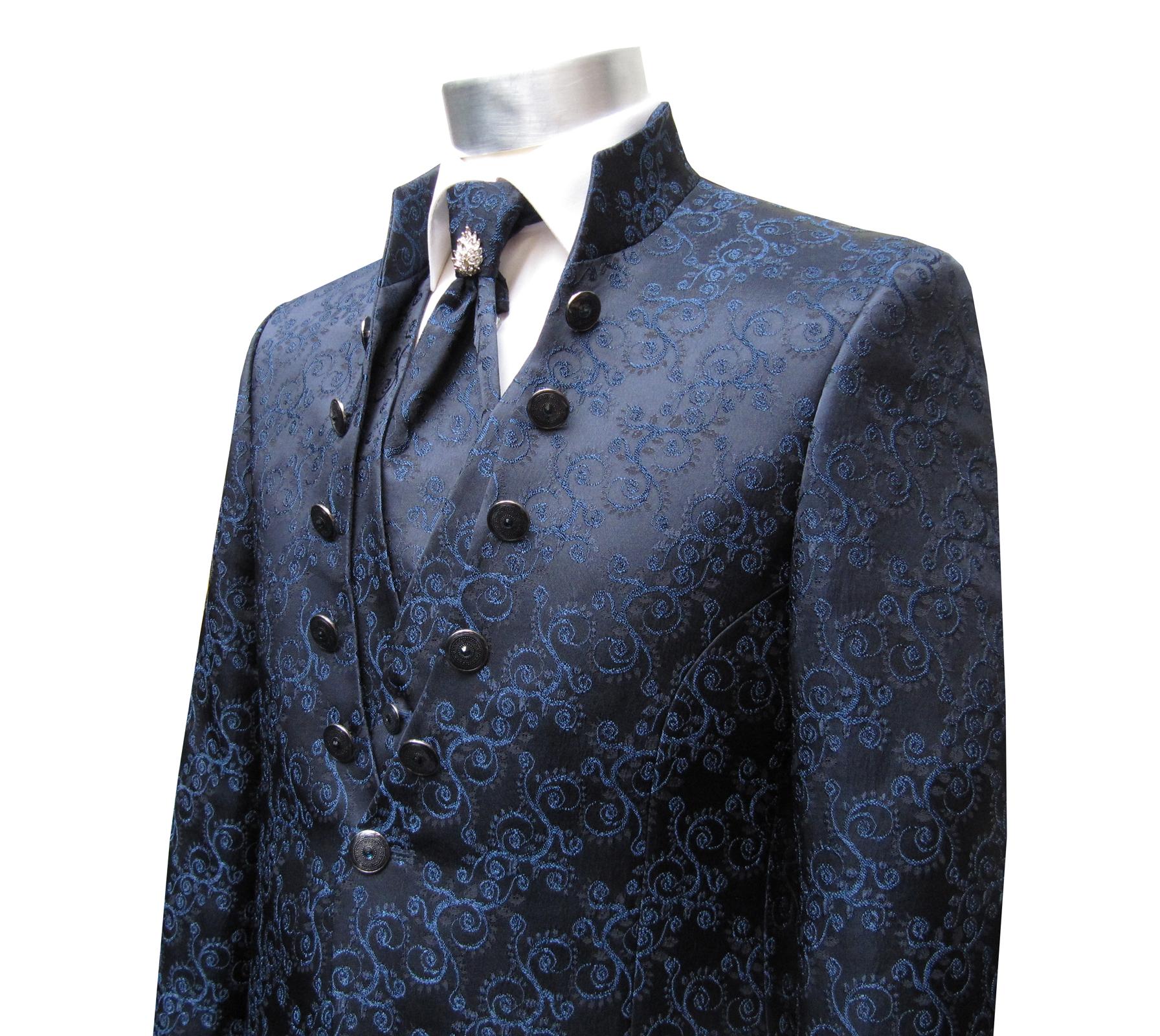 Details zu Stehkragen Mao Kragen Anzug 5 teilig Cutaway Gr.62 Blau