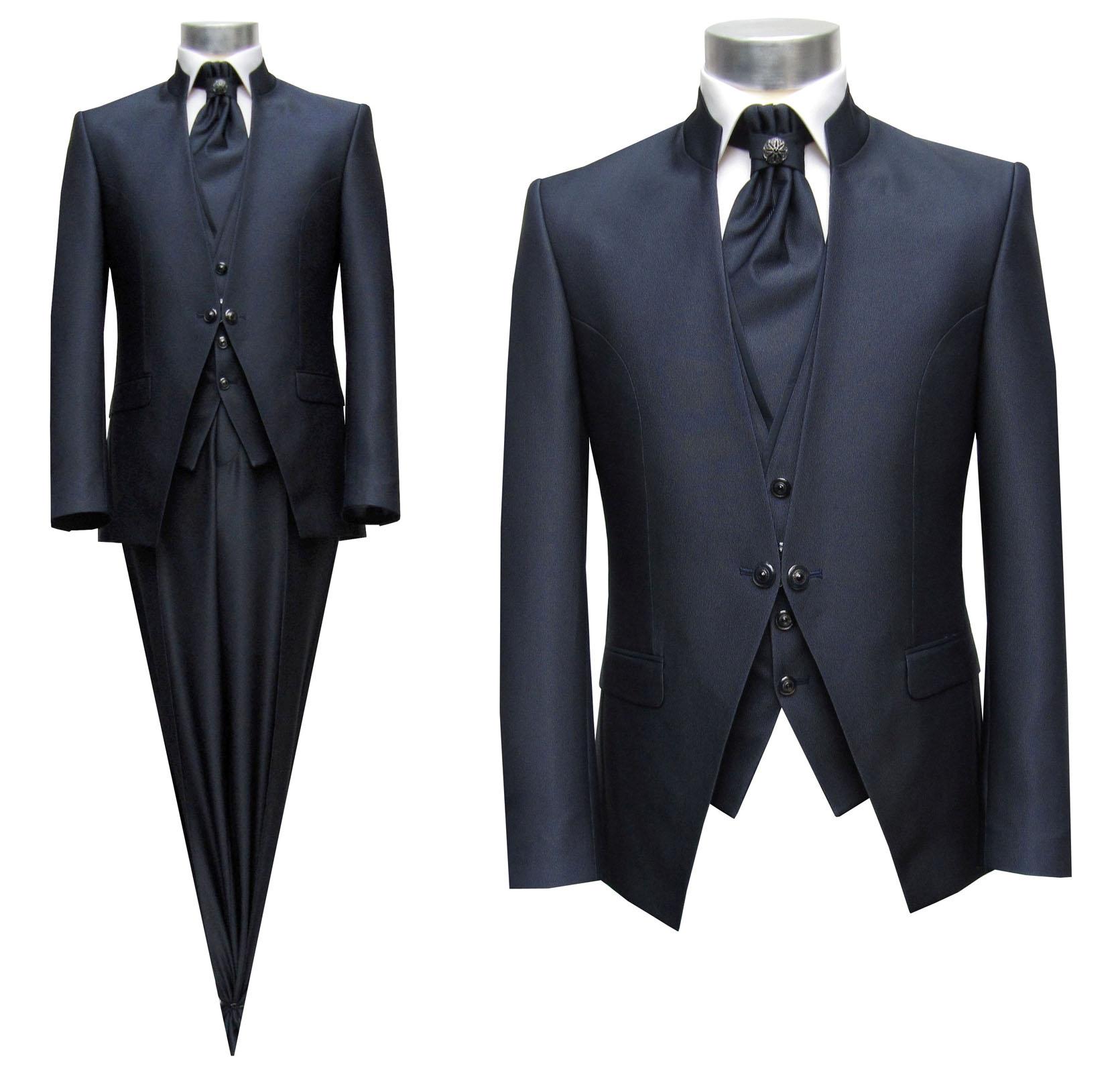 Details zu Steh Kragen Herren Anzug 5 teilig Gr.56 navy blau
