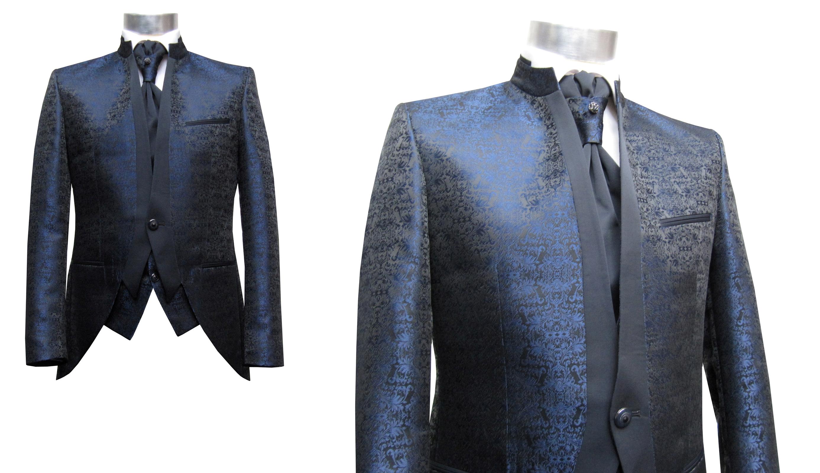 elegante mao kragen herren anzug 4 teilig dunkelblau. Black Bedroom Furniture Sets. Home Design Ideas
